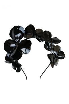 Morgan & Taylor Black Faux Patent Leather Assymmetric Floral Headband