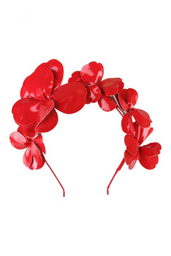 Morgan & Taylor Red Faux Patent Leather Assymmetric Floral Headband