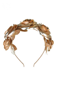 Morgan & Taylor Gold Faux Leather Rose Crown