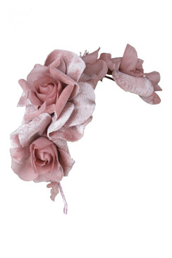 Morgan & Taylor Dusty Pink Velveteen Floral Headband