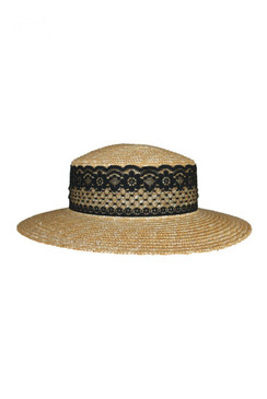 Morgan & Taylor Straw Boater with Black Lace Trim