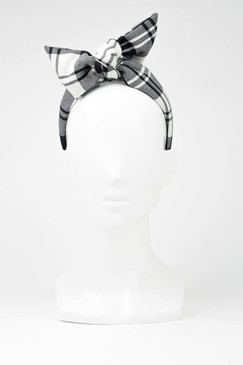 ALBERTINE TARTAN - Black & White Tartan Turban Headband by Benoit Missolin