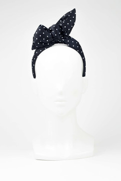 ALBERTINE POLKA DOT - Black & White Polka Dot Wrap Headband by Benoit Missolin