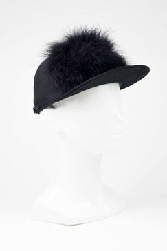 SERAPHINE - Black Cap with Goose Feather Trim by Benoit Missolin