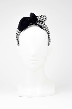 LEANDRA - Black & White Gingham Headband by Benoit Missolin