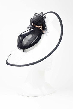 AKERO - Transparent Acrylic Asymmetric Hat with Black and Rose Gold Trim by Sophie Beale Millinery