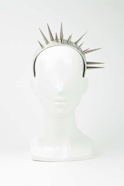 KUNAI - Silver Asymmetric Spikes on Metallic Headband by Ford Millinery