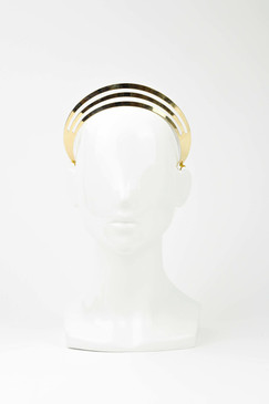TRACKS - Gold Three Tier Metallic Crown by Ford Millinery