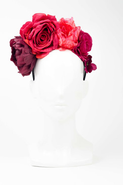 FRIDA - Lush Red Fabric Flowers on Wide Satin Headband by Ford Millinery
