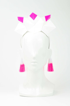 MADONNA - Pink & White Architectural Origami Crown with Tassels by Ford Millinery