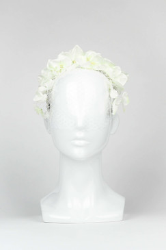 BUTTERFLY KISSES - White Fabric Flower Crown with veil by Ford Millinery