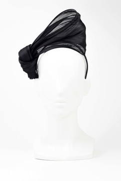 SILKS - Black 100% Silk Twist on Headband by Ford Millinery