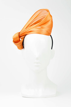 SILKS - Orange 100% Silk Twist on Headband by Ford Millinery