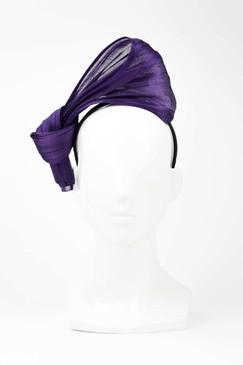 SILKS - Purple 100% Silk Twist on Headband by Ford Millinery