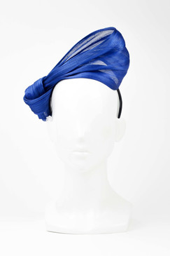 SILKS - Blue 100% Silk Twist on Headband by Ford Millinery