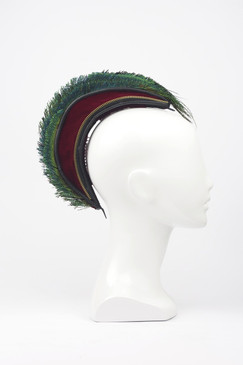 Red Velvet & Peacock Feather Mohawk by TEH Designs - The Centurion