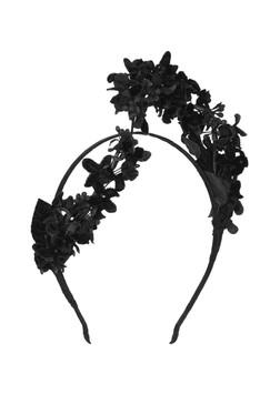 VIVIENNE - Black Velvet Asymmetric Floral Headband by Suzy O'Rourke Millinery