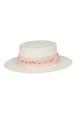 Cream Straw Boater with Pink Crystal Fringing by Suzy O'Rourke Millinery