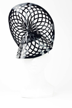 SPIRAL DISCO - Laser-cut Patent Leather Headpiece by Florencia Tellado