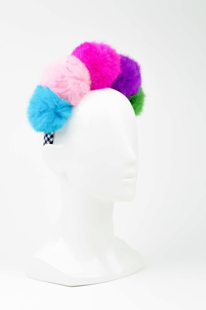 Multi-Coloured Fur Pom Pom Headband by Florencia Tellado - The ... 2beb2f05bfe