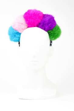 Multi-Coloured Fur Pom Pom Headband by Florencia Tellado