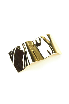 Gold Crinkle Metal French Barette by Lelet NY