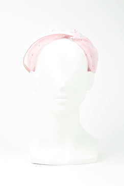 EVE - Pink Tulle Turban Headband with Beaded Detail by Harvy Santos Hats