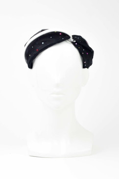 EVE - Black Tulle Turban Headband with Beaded Detail by Harvy Santos Hats