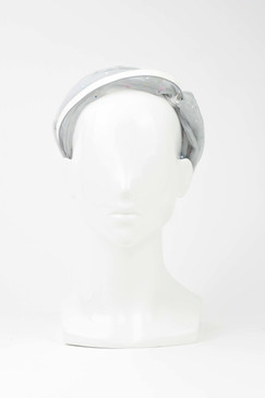 EVE - Grey Tulle Turban Headband with Beaded Detail by Harvy Santos Hats