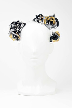 Silver Leather Trio Rosetta Headband with Gold Leaf Trim by Natalie Bikicki Millinery
