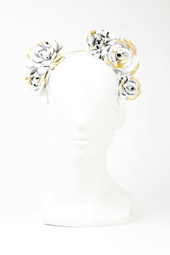 White Leather Trio Rosetta Headband with Gold Leaf Trim by Natalie Bikicki Millinery