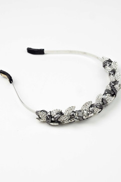 JUNO CROWN - Silver Swarovski Leaf Crystals with Silver Leather Trim by Natalie Bikicki Millinery