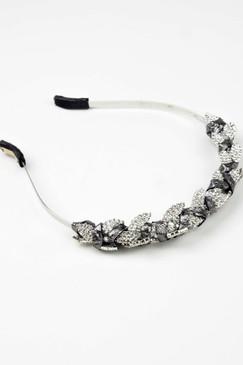 JUNO CROWN - Silver Swarovski Leaf Crystals with Silver Leather Trim by Natalie Bikicki Millinery