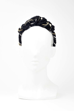 SAINT JEAN - Black Luxe Rope Braid Headband with Swarovski Crystals & Pearls by Ann Shoebridge Milliner