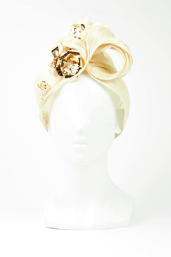 Silk Turban with Gold Metallic Flower by Ana Bella Millinery