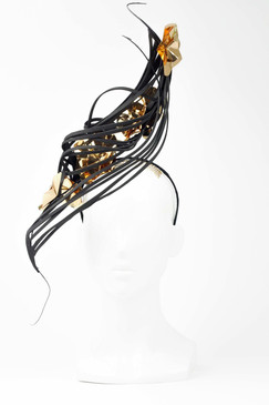 Black Spiral Headpiece with Gold Metallic Flowers by Ana Bella Millinery