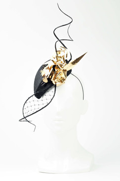 Mysterious Lady - Black Sinamay Headpiece with Quills & Gold Metallic Flower