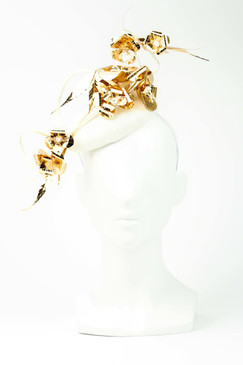 Metallic Gold Rose Vines on a Straw Button Base by Ana Bella Millinery
