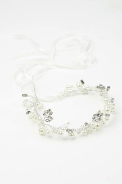 Sarah - Pearl and Teardrop Diamante soft headband with Ribbon Tie by Lady of Leisure Millinery