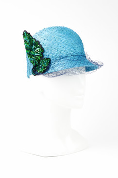 FLORENCE - Blue Knotted Sisal Jockey Cap with Sequins by Angela Menz Millinery