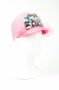 SHARLENE - Pink Knotted Sisal Jockey Cap with Diamante Details by Angela Menz Millinery