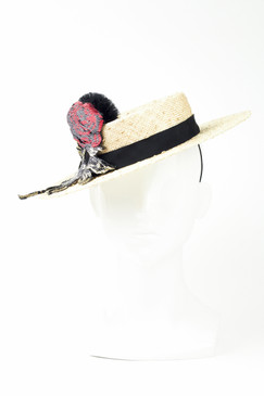 ROSE - Knotted Sisal Boater wth Sequin Rose by Angela Menz Millinery