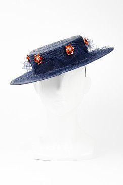 BELINDA - Navy Straw Boater with Rose Gold Sequins by Angela Menz Millinery