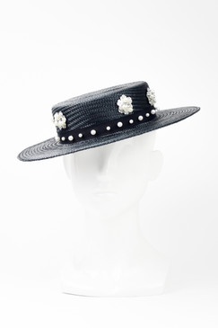 ELIZA - Black Straw Boater with White Sequins & Pearls by Angela Menz Millinery
