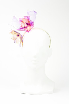 LEILA - Violet, Pink & Yellow Two Bloom Stained Glass Effect Flower hadband by Angela Menz Milliner