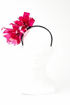 GRACIE - Crimson Stained Glass Effect Flower Headband by Angela Menz Millinery