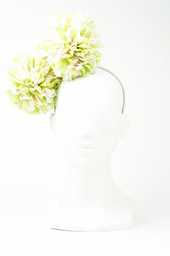 Lime & Rose Raffia Pom-Pom by Angela Menz Millinery