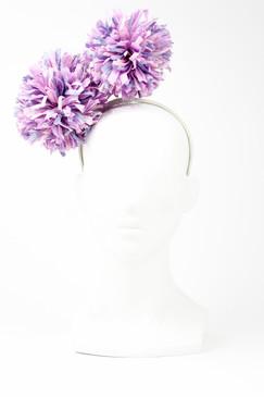 Lilac Raffia Pom-Pom Headband by Angela Menz Millinery