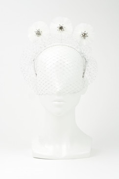 PRESLEY - White & Silver Veil Velvet Headband with Fringe Discs by Angela Menz Millinery