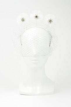 PRESLEY - White & Silver Veil Velvet Headband with Fringe Discs by Angela Menz Millinery